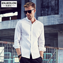Enjeolon brand 2017 casual Men Shirts, Slim soft Long Sleeve clothing, Base white black solid cotton Shirts Men Clothes C2319(China)