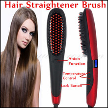 NASV-300 Hair Brush Electric Hair Straight Comb Beauty Star Generation Anion And Lock Hair Straightener Brush With LCD Display(China)