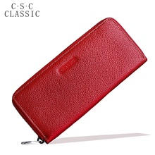 Long Wallet Womens Red Real Genuine Leather Zipper Wallets Women Clutches Female Ladies Purse for Coins Phone Card Holder bag