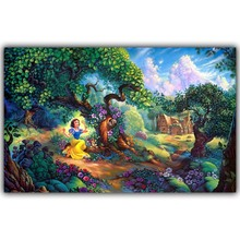 Frameless Oil Painting Silk Cloth Painting Poster Print Fairy Tale Princess White Magic Forest Model Home Decor Poster HH061(China)