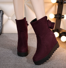 Winter Women's Sweet Bowknot Metal Trim Round Toe Ankle Boots Hidden Wedge Heel Casual Solid Color Ladies Shoes US4--8
