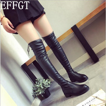 EFFGT 2017 autumn winter long boots NEW style women flat low heel over the knee boots female lace up Thigh High Boots C870(China)