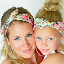 2Pc/Set Fashion mom and me headband Flowers Print Floral Rabbit Ears Bow Hair Band Turban Knot Headwear Hair Band Accessory A97