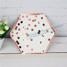40pcs Gold Hexagonal Shaped Party Plates Foil Rose Polke Dot Floral Vintage Paper Plates for School Party Wedding Baby Shower(China)