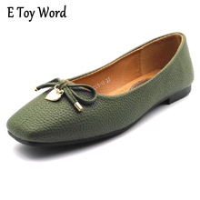 E TOY WORD New Patent Leather Flat Women Ballet Flats Shoes Women plus size 41 Square Toe Bow Black Green Gray Shoes For Women(China)
