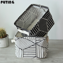 Simple Nordic Style Black White Zakka Geometric Desktop Storage Box Office Cloth Laptop Containing Small Creative Fabric SBY8066(China)