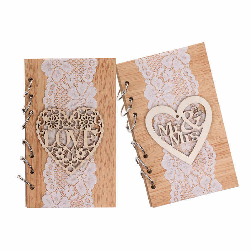 DIY Retro Removable Wooden Guest Book for Wedding Party Hollow Loving Heart Mr&Mrs Wood Signature Guest Books with White Lace
