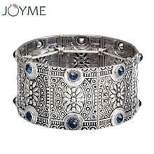 2017 New design fashion vintage antique ancient silver openwork wide cuff bracelet & bangle for women retro jewelry new(China)