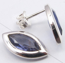 Pure Silver REAL IOLITE GEM STONE Cute Lightweight s Post Earrings 1.5CM1 Pair of  Earring