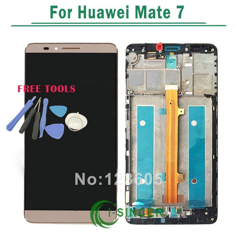 White/Gold/Black for Huawei Ascend Mate 7 Mate7 LCD display screen+Touch digiziter Assembly with frame +tools Free Shipping<br><br>Aliexpress