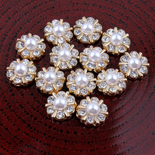 30pcs/lot 12MM Crystal Pearl Flower Buttons Silver & Gold Color Plated Zinc Alloy Flatback Rhinestone Embellishments Bouton