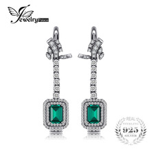 JewelryPalace Luxury 5.06ct Created Emerald Clip Earrings 100% Real 925 Sterling Silver Women Earrings 2017 Vintage Fine Jewelry(China)