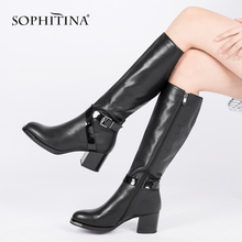 SOPHITINA 새 Women Boots 패션 Genuine Leather (High) 저 (힐 Shoes (High) 저 (질 소 Leather Round Toe Warm Boots 대 한 겨울 BA26(China)