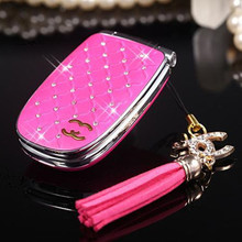 Unlocked Luxury Diamond Cell Phone W11 Fashion Mini Flip Girl Phone with Music LED Light Great Gift for Lady H-mobile W11