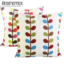 Cushion Canvas Leaves 40x40cm Cotton 3D Embroidery Decorative Couch For Sofa Decor Bed Car(China)