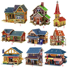 3D Wooden House Models Construction Puzzle Craft DIY Children Fun Building Toy W15(China)