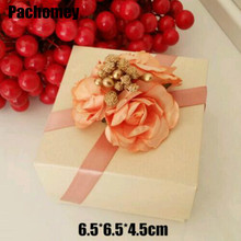 Sale Top Fashion Gift & Craft Recyclable Europe Gift Paper 6.5*6.5*4.5cm Cardboard Rose Flowers Wedding Box Packaging Boxes(China)