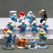 [Fly AC] 12pcs /lot High quality The Elves Papa Smurfette Clumsy Figures Elves Papa Action Toys for Children Birthday gift