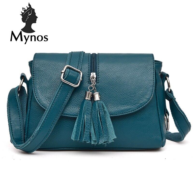 MYNOS Women Messenger Bag 100% Genuine Leather Vintage Tassel Crossbody Bag For Women SAC A MAIN Femme Small Bolsas Bag Female<br>