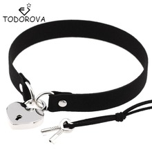 Todorova Gothic Punk Harajuku Heart Lock Velvet Leather Choker Necklace Choker Collar with Key Jewelry for Women Accessories(China)