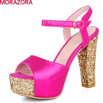 Morazora tamanho grande 2017 sexy sapatos de salto alto das sandálias das mulheres grossas saltos peep toe tira no tornozelo de couro macio sapatos de mulher de ouro vermelho