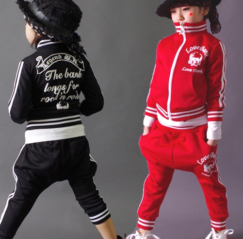 New fashion spring Autumn childrens clothing set Costumes sweatshirt skull dance Hip Hop harem pants kids sport suits Wholesale<br>