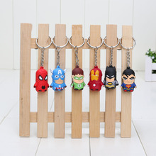 6pcs/set Avengers Keychain Pendant Iron Man Batman Super Spider Man Captain America Green Lantern PVC Rubber Figure Toy