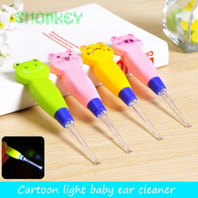baby care Ear Syringe spoon Light child ears cleaning with light kids Earwax spoon digging luminous dig Ear cleaner baby product(China)