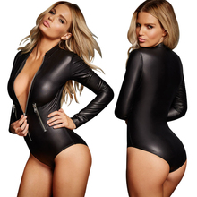New Sexy Zipper Latex Wetlook Catsuit Gothic Faux Leather Bodysuit Cat Women Fetish PVC Teddy Lingerie Erotic Clubwear Costume