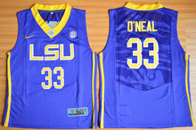 Nike Youth LSU Tigers Shaquille O'Neal 33 College Ice Hockey Jerseys - Purple Size S,M,L,XL(China)
