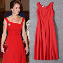High quality 2017 new arrive fashion elegant solid color red designer asymmetrical collar sleeveless black dress kate middleton