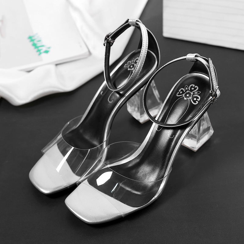 Clear Transparent shoes for women plastic Fashion 2017 summer new high heels open toe female lady sandals black plus big size 41<br>