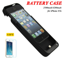 2500mah&4200mah Portable Backup External Battery Charger Case Power Bank Pack Charging Cases Cover For iPhone 5 5S 5C SE(China)