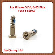 100pcs Back Cover Screw for iPhone 6 6S  New Bottom Dock Connector Five Star Pentalobe Screws For iPhone 5 5S Gold