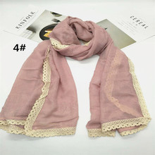 2017 Hot sale plain viscose solid soft foulard white lace borders Muslim hijab women scarf luxury bandana wraps shawls 10pcs/lot(China)