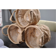1pc pack Waterproof Jute round Storage Bucket without lining natural jute color 13*10CM Toy Storage bag flower pot