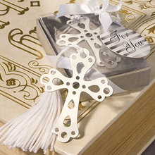 Free Shipping Cross Baptism presents metal bookmark with white silk tassel Silver Cross Bookmark Wedding Favors 200PCS/LOT(China)