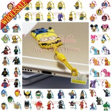 Free DHL 500pcs hot Mickey My little Ponies PVC Dust plug cell Phone accessories For Iphone 4 5 6 Strap ropes travel accessories