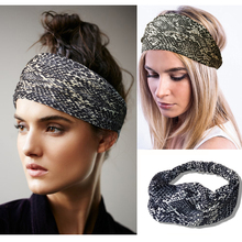 Retro serpentine hairband Stretch Bohemia yoga headband wide edge Women hair band Korean headdress simple fashion headband hoop(China)