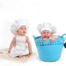 Newborn Baby White Cook Costume Cotton Photos Photography Prop Newborn Bebe Boy Girl Pictures Clothing Hat Apron(China)