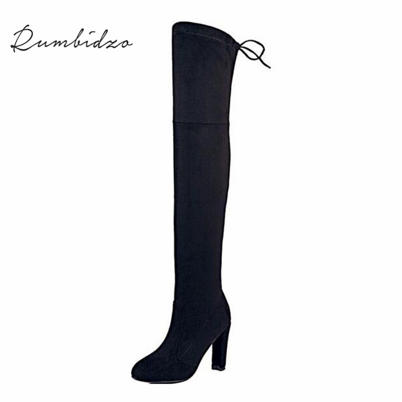 Rumbidzo Women Stretch Suede Slim Thigh High Boots Sexy Fashion Over the Knee Boots High Heels Woman Shoes Black Gray Winered<br>
