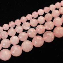 "Faceted Natural Rose Quart Round Beads15""/38cm,For DIY Jewelry making ,provide mixed wholesale for all items !"