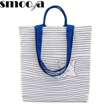 SMOOZA Cute Checked Cat print Cotton Canvas Handbags Eco Daily Female Single Shoulder School Shopping Bags Tote Women Beach Bags(China)