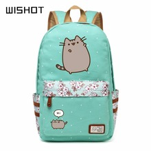 WISHOT Pusheen Cat  Canvas bag unicorn Flower wave point Rucksacks backpack for teenagers Girls women School travel Shoulder Bag