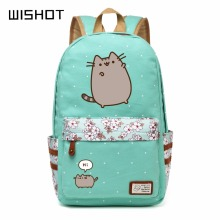 WISHOT Pusheen Cat Canvas bag unicorn Flower wave point Rucksacks backpack for teenagers Girls women School travel Shoulder Bag(China)