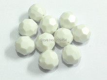 (Choose Size First) 10mm/12mm/14mm/16mm/18mm/20  White Acrylic Solid Big Faceted Beads Free Shipment !