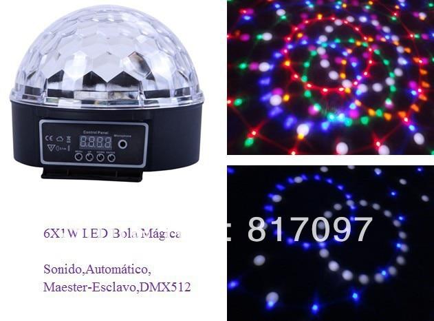 Venta 6 Piezas 1W LED Bola Magica Sonido Automatico DMX512 7 Canales DJ Efectos Luces LED Fiestas Eventos Efectos Discoteca Pub<br>