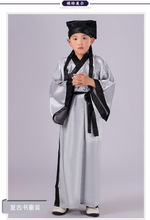 3 PCS Boy Chinese Folk Costume Chinese Long Robe with Hat Kids Chinese Hanfu Clothing  Child Ming Performance Dance Costume 18