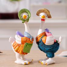 Kawaii Home Decoration Gifts Duck Crafts Ducking Ornaments 2016 Rural Style Artificial Daddy Duck Baby Duck Resin Crafts(China)
