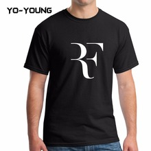 Roger Federer RF Fashion Men T-Shirts Letters Quality PU Printing 100% 180g Combed Cotton Summer Tee shirts Customized